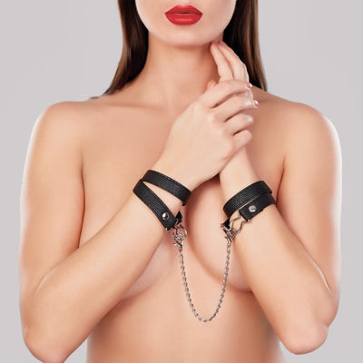 bondage set, A1088 - Adore Wrap Cuffs With Connector Chain - Lavender's Dream