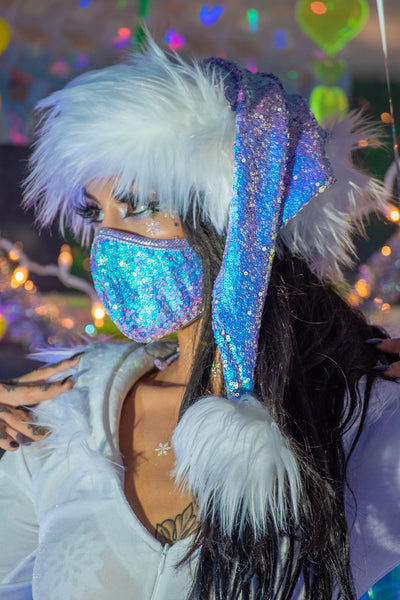 mask, FF556 - Sequin Tailored Mask, Top & Bottom Tie - Lavender's Dream