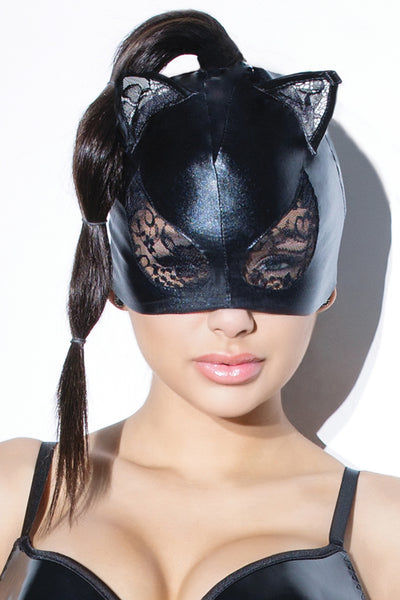 mask, CQD2245 - 1 Pc. Wet Look Cat Mask With Lace Eyes And Ears. - Lavender's Dream