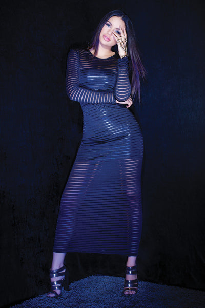 nightgown, CQD9346 - Striped stretch knit long sleeve gown. - Lavender's Dream