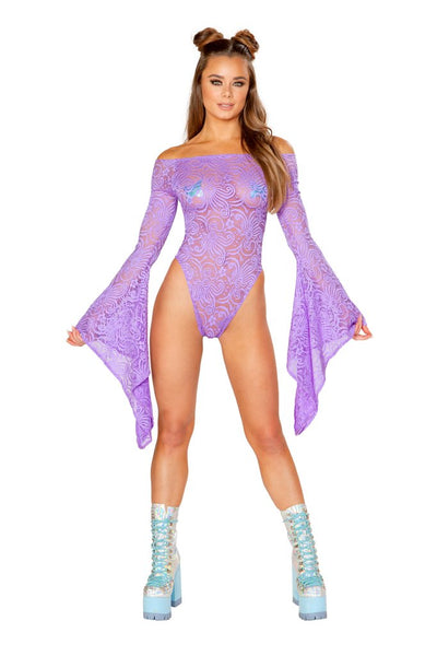 bodysuit, FF112 - Cyclone Lace Long Sleeve Bodysuit - Lavender's Dream