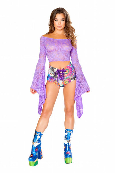 top, FF114 - Cyclone Lace Long Sleeve Gypsy Top - Lavender's Dream