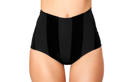 shorts, FF872 - Black Velvet Striped High-Waist Shorts - Lavender's Dream
