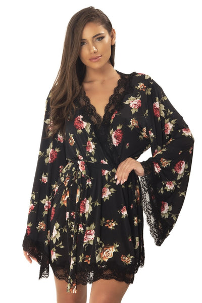 robe, LJ-10731 - Butterfly Sleeve Robe With Floral Lace Edges And Waist Tie - Lavender's Dream