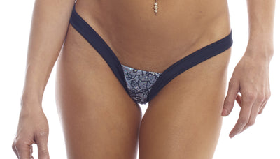 thong, LP003 - Lace Print Heart Back Thong - Lavender's Dream