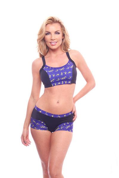 athletic short, VV056 Daphne Short in Purple & Black - Lavender's Dream