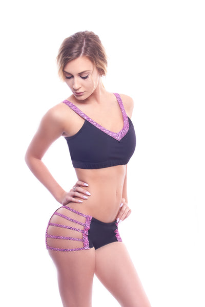 athletic short, VV105 Dangerous Bridge Scrunch Back Short, Pink - Lavender's Dream