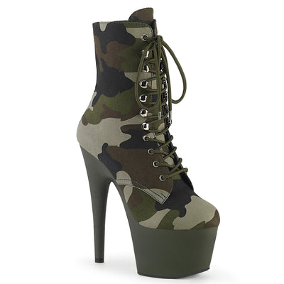"ankle boot, ADORE-1020CAMO - 7"" Heel, 2 3/4"" Platform Camo Lace-Up Ankle Boot - Lavender's Dream"