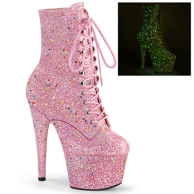 "ankle boot, ADORE-1020GDLG - 7"" Heel, 2 3/4"" Platform Blacklight Reactive Glittered Lace-Up Front Ankle Boot - Lavender's Dream"