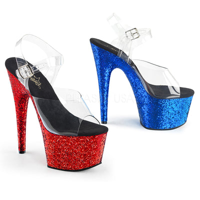 "ankle strap sandal, ADORE-708HQSQ - 7"" Heel 2 3/4"" Platform Sandal with 1 Red Shoe & 1 Blue Shoe - Lavender's Dream"