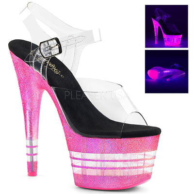 "ankle strap sandal, ADORE-708UVLN - 7"" Heel Ankle Strap Sandal with Neon UV Reactive Lines in a 2 3/4"" Platform - Lavender's Dream"