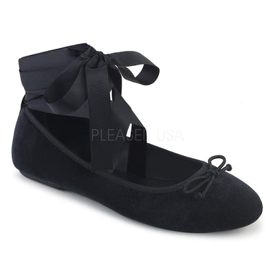 mary janes, DRAC-03 - Mary Jane Ballet Flats with Wrap-Around Ribbon & Bow on Toe - Lavender's Dream