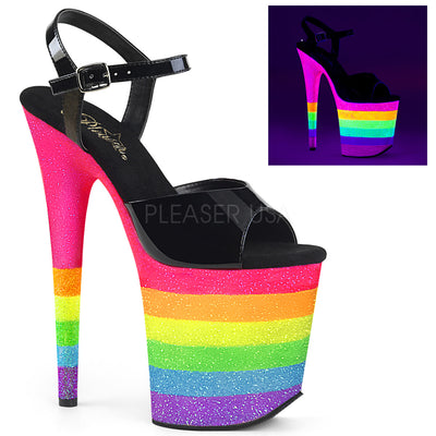 "ankle strap sandal, FLAMINGO-809UVRB - 8"" Heel, 4"" Platform, Ankle Strap Sandal Featuring Neon UV, Blacklight Reactive, Rainbow-Colored Platform Bottom Covered in Glitter - Lavender's Dream"