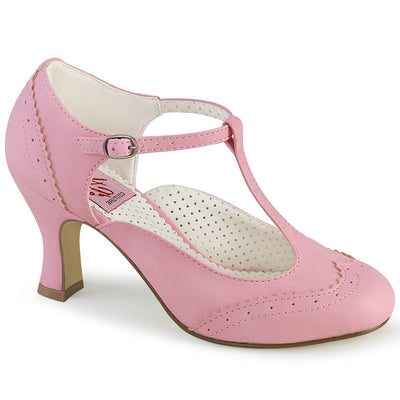 "pumps, FLAPPER-26 - 3"" Kitten Heel Perforated Wingtip T-Strap Pump - Lavender's Dream"