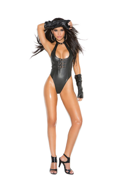 bodysuit, EML2256 - Leather teddy with buckle front detail and thong back - Lavender's Dream