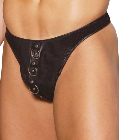 panties, EML9140 - Leather thong with rings - Lavender's Dream
