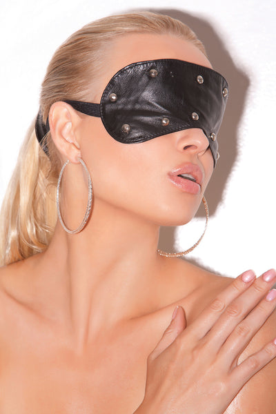 mask, EML9257 - Leather blindfold with studs - Lavender's Dream