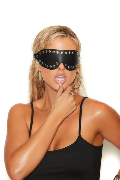 mask, EML9829 - Leather blindfold with nail heads - Lavender's Dream