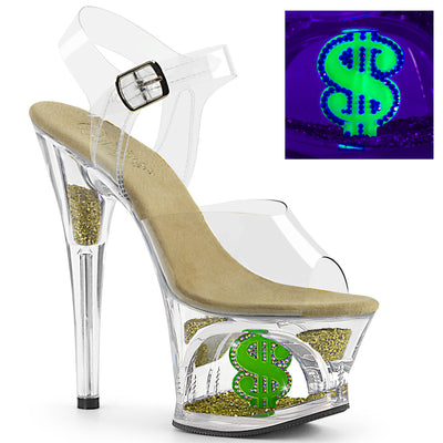 "ankle strap sandal, MOON-708USD - 7"" Heel, 2 3/4"" Platform, Open Toe, Ankle Strap Sandal Featuring UV Blacklight Reactive US Dollar Sign Inside the Platform Cutout and Golden Nugget Glitters Inserted in the Platform & Heel - Lavender's Dream"