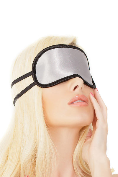 sleeping mask, CQSB1734 - 1 PC. Silver and Black Satin eye mask with double strap detail - Lavender's Dream
