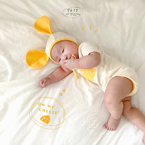 Cheddar Cheese Romper + Bonnet * Preorder