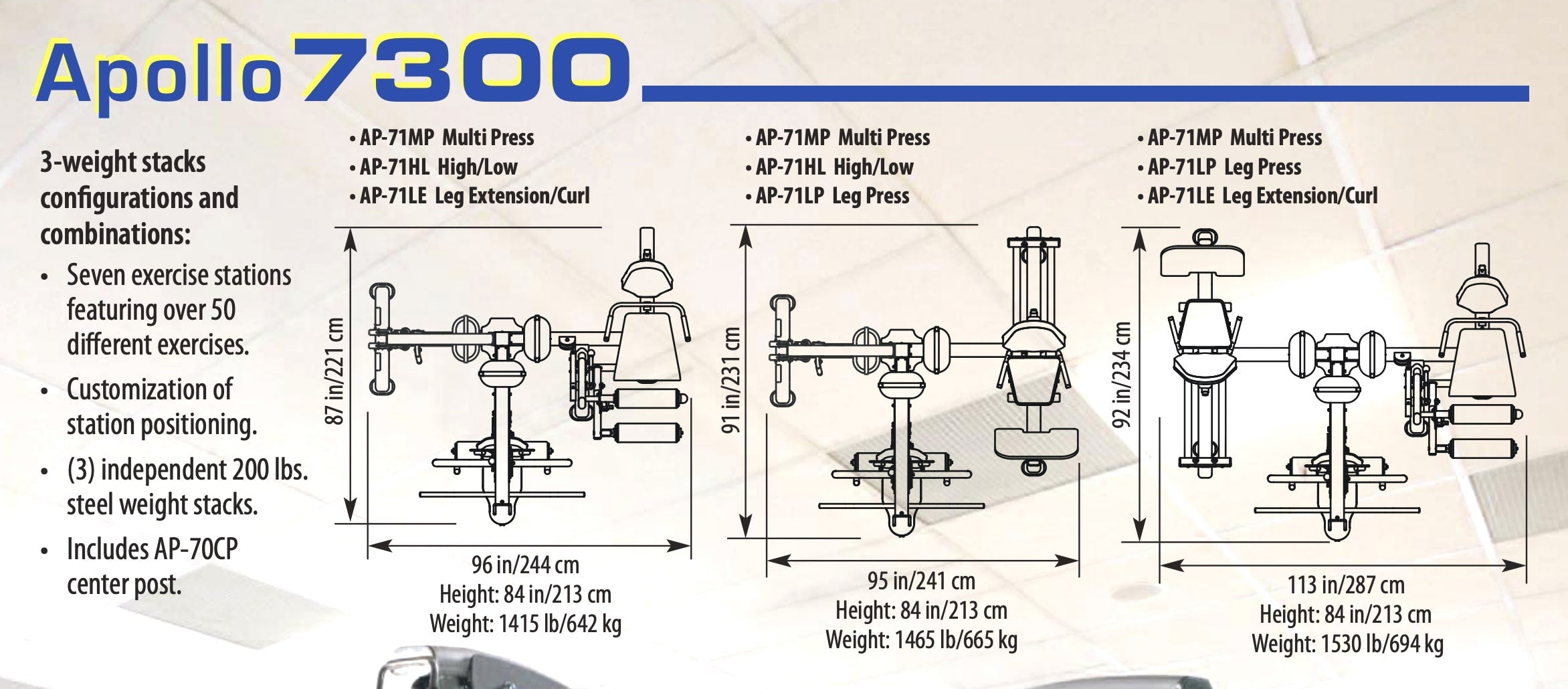 TuffStuff Apollo 7300 Multi Stack Gym Configurations
