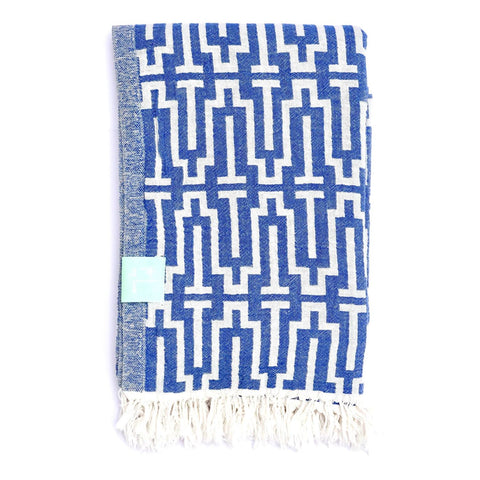 Blue Labyrinth Hammam Towel