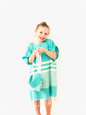 Mint Beach Poncho Set
