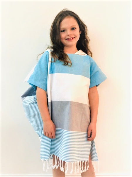 Large Kids Beach Poncho Set - 7-10 years