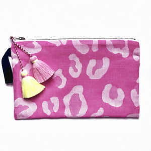 Pink Animal Print Pouch with Tassels