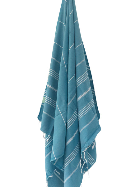 Teal Stripe Hammam Beach Towel