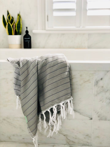 Grey Herringbone Hammam Towel