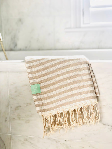Beige Candy Striped Hammam Towel