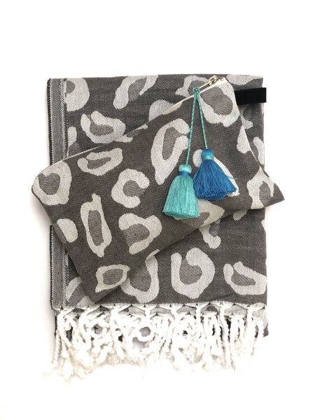 Grey Animal Print Pouch with Tassels