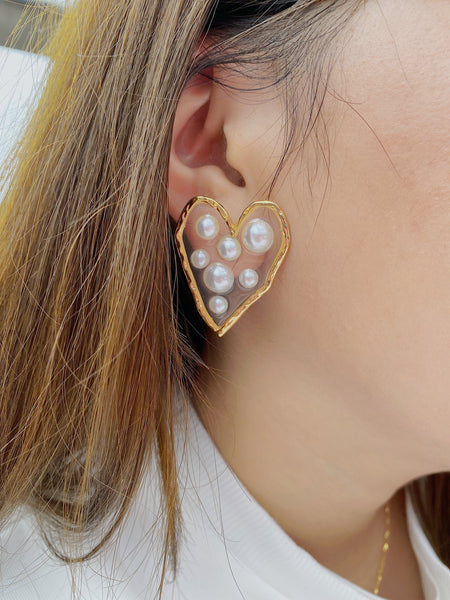 Heart Shaped Clustered Pearl Earrings