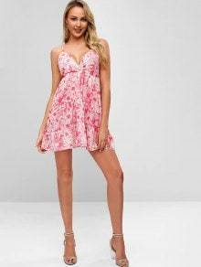 Sexy Floral Printed V Neck Backless Mini Dress