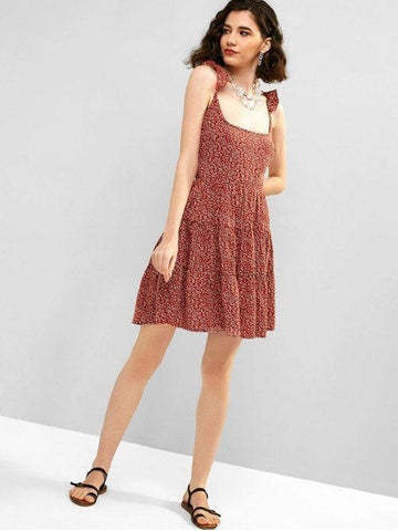 Hot Sale Floral Criss Cross Ruffle Mini Dress