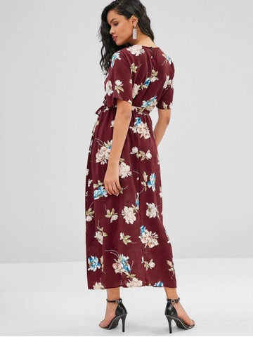 Sashes V-Collar Front Slit Flower Print Maxi Dress