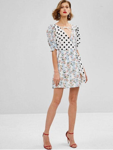 Polka Dot Floral Clashing Print A-Line Mini Tea Dress