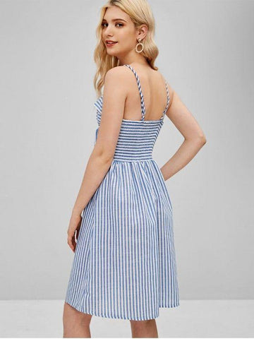 New Fashion Striped Cami Tie Front A Line Dress