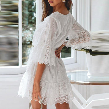 A-line cotton embroidery dress