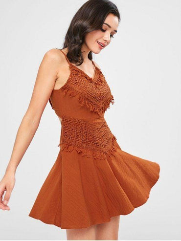 A Line Crochet Overlay Mini Dress