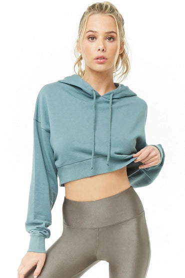 Active Hooded French Terry Cropped Top