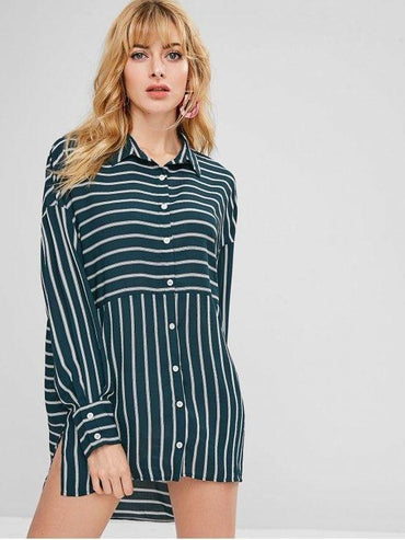 Asymmetric Striped Slit Shirt Dress