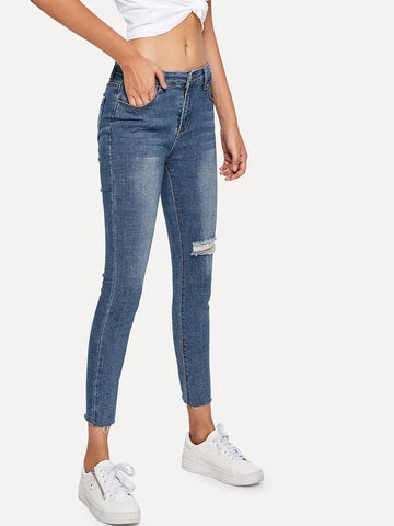 Asymmetrical Ripped Solid Jean