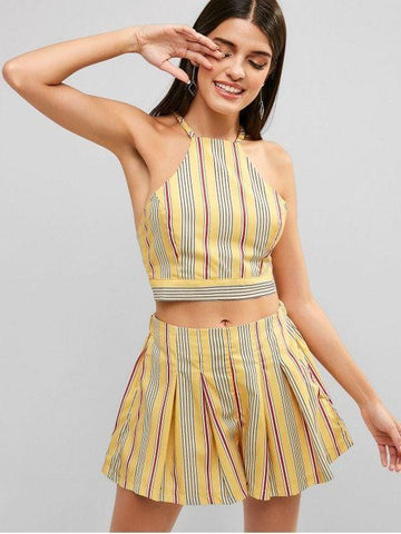 Backless Striped Top and Loose Shorts Set