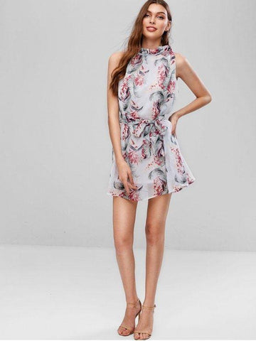 Belted Floral Ruffles Mini Dress