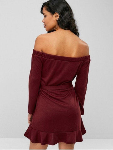 Belted Off Shoulder Flounce Dress