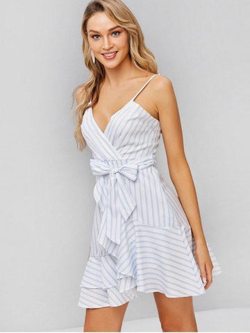 Belted Stripes Ruffles Cami Dress