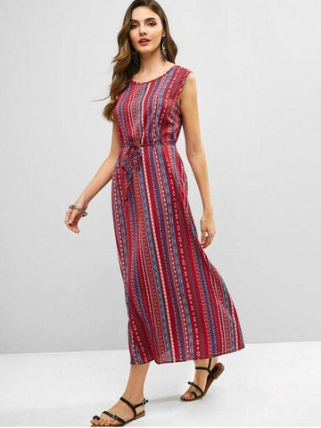 Belted Tribal Print Sleeveless Dress
